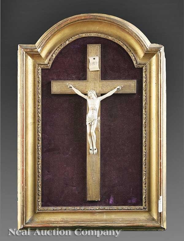 0017: Continental Ivory and Giltwood Crucifix