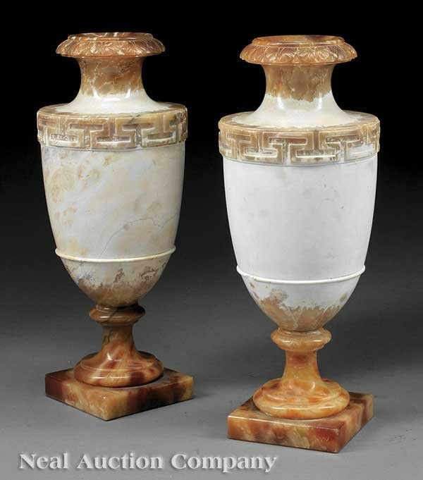 0020: Pair of Italian Carved Alabaster Urns