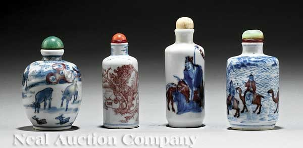 0073: Red Decorated Blue and White Porcelain Snuff Bott