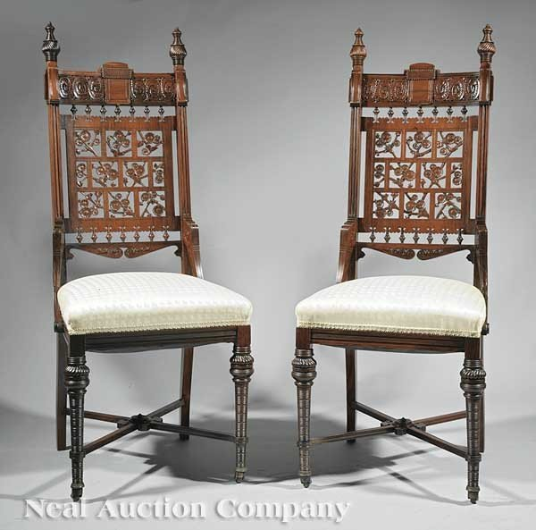 0146: Pair Herter Bros. Rosewood Side Chairs