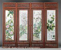 0449 Four Chinese Polychrome Porcelain Panels