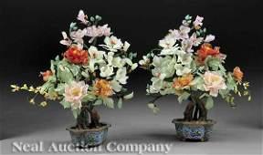 0507: Hardstone Flowering Trees in Cloisonne Jardineres