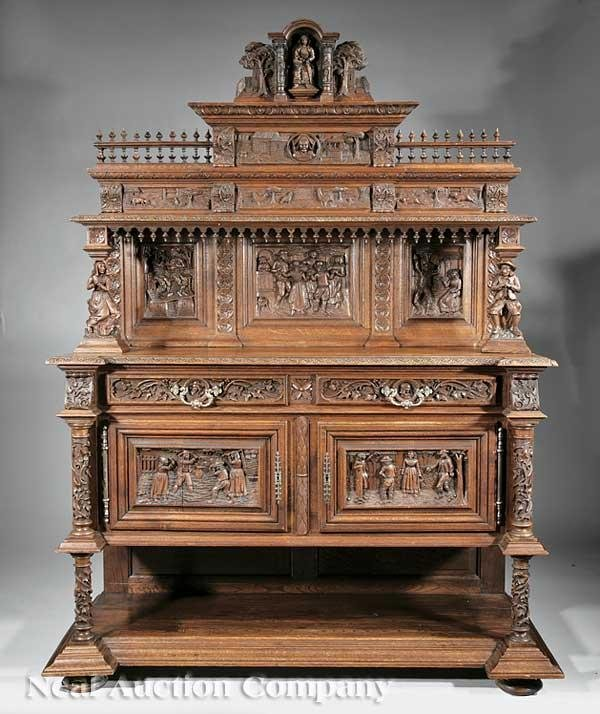 0623: Renaissance Revival Highly Carved Walnut Dining S