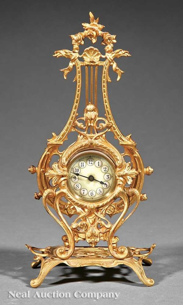 0639: French Louis XV-Style Gilt Bronze Mantel Clock