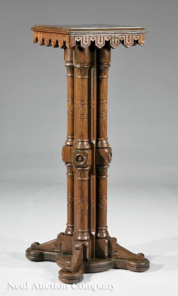 0642: American Aesthetic Carved Cherrywood Pedestal