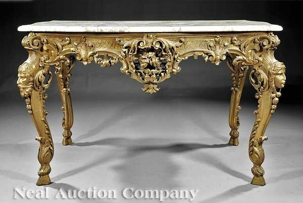 0757: Carved and Giltwood Center Table, imported for Ho