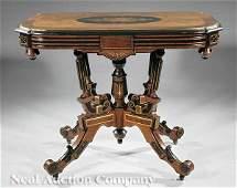 0760 American Renaissance Inlaid Center Table