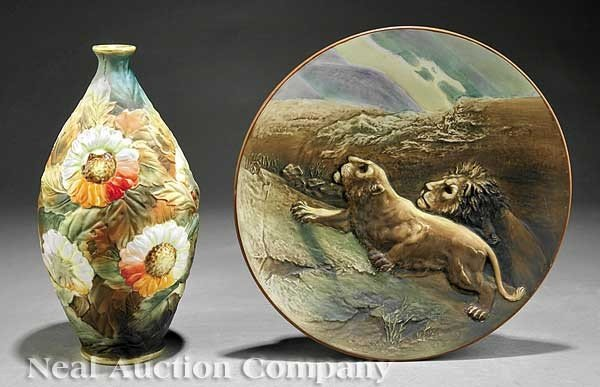 """0890: Japanese """"Nippon"""" Relief-Decorated Plate and Vase"""