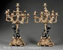 Gilt, Patinated Bronze Seven-Light Figural Candel