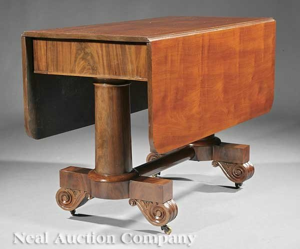 0002: Carved Mahogany Drop-Leaf Dining Table