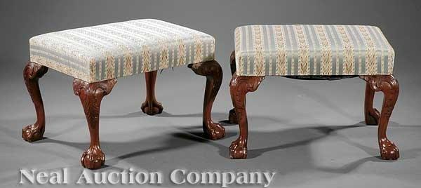 0003: Pair Carved Mahogany Footstools