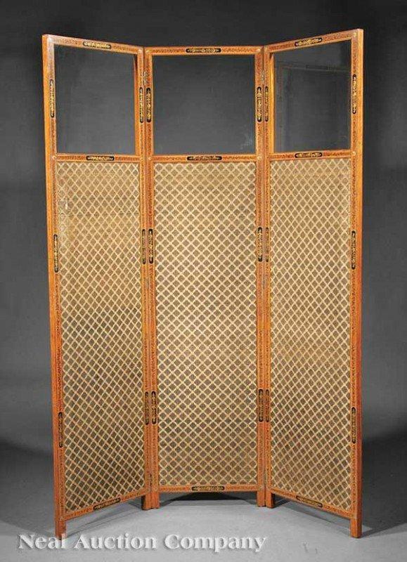 0006: Edwardian Paint-Decorated Satinwood Three Panel S