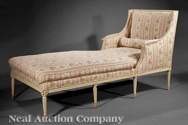 0010: Louis XVI Creme Peinte Chaise Longue