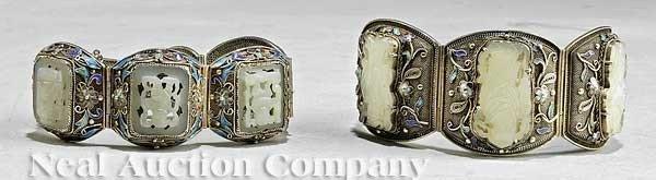 0591: Two Chinese Silver Filigree, Enamel and Jade Brac