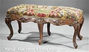 0789: An Louis XV-Style Carved Walnut Window Bench