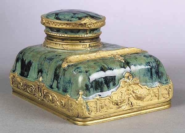 0003: French Art Nouveau Gilt Pottery Encrier