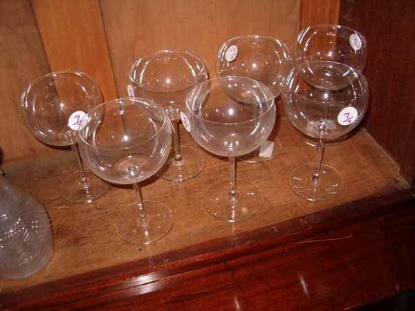 0007: Set of 7 Baccarat Crystal Wine Stems
