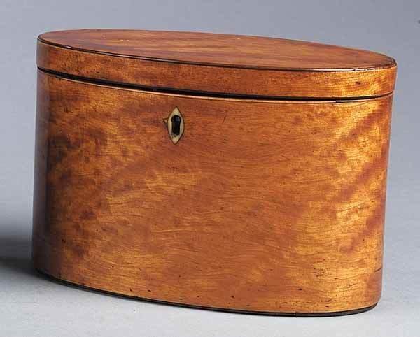 0013: George III Satinwood/Mahogany Tea Caddy
