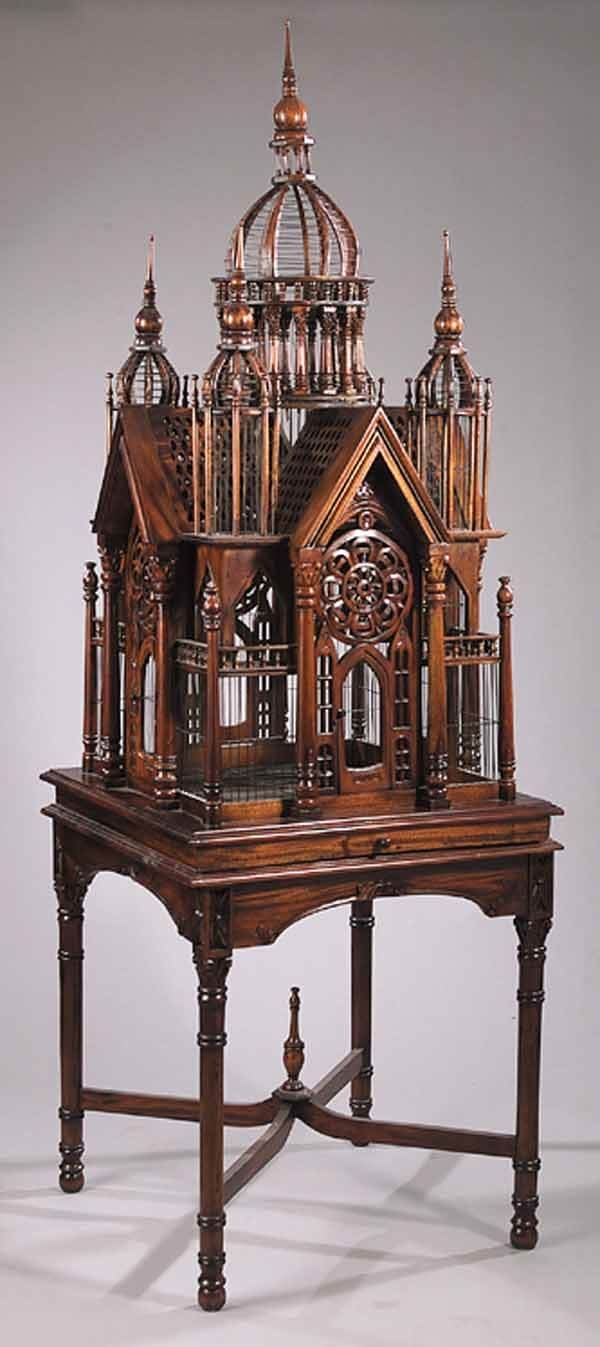 """0017: Carved Mahogany """"Cathedral"""" Birdcage"""