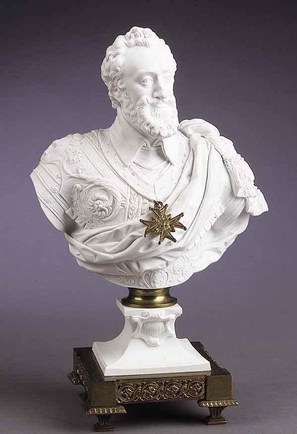 0023: Sevres Biscuit Porcelain Bust Henri IV