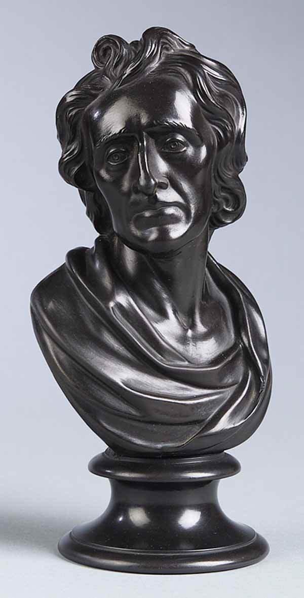 0276: Wedgwood Black Basalt Bust John Wesley