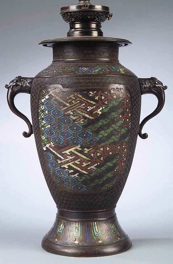0279: A Chinese Cloisonne and Bronze Vase