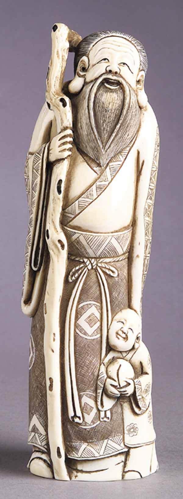 0282: Japanese Carved Ivory Figure of Elder