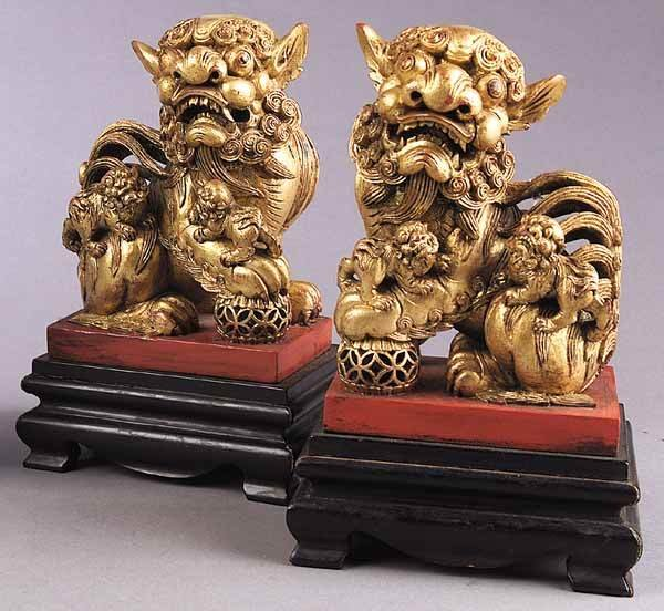0284: Pair Chinese Carved Giltwood Foo Dogs
