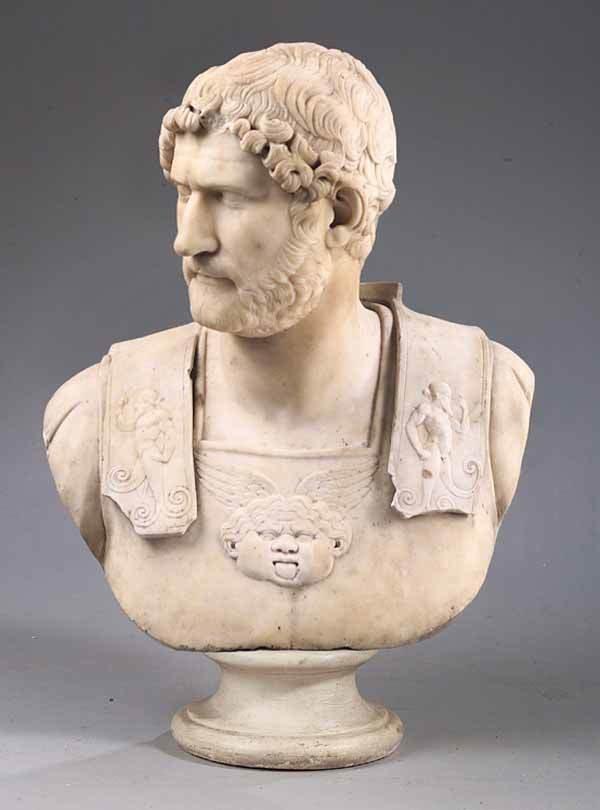 0538: Carrara Marble Bust Emperor Hadrian