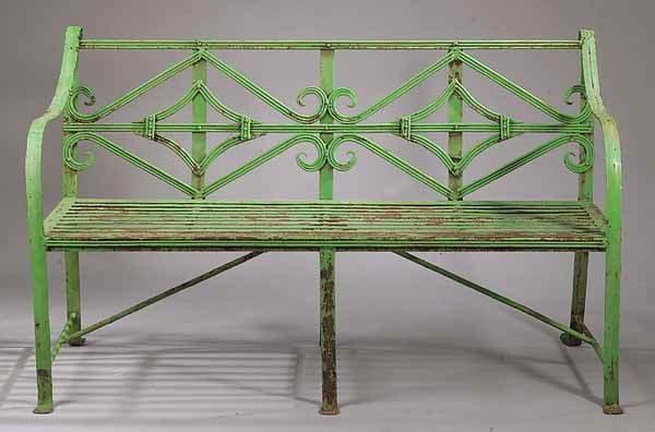 0890: Pair of Wrought Iron Garden Benches