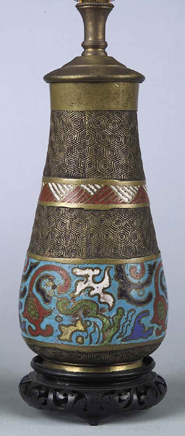 0928: A Small Chinese Cloisonne' Table Lamp