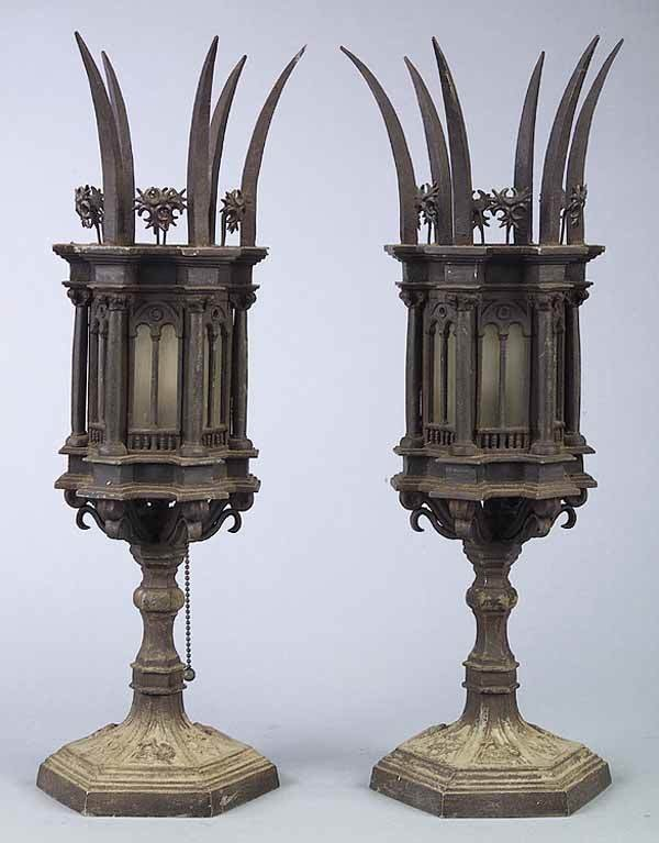 0929: Pair Italian Gothic Cast Table Lamps
