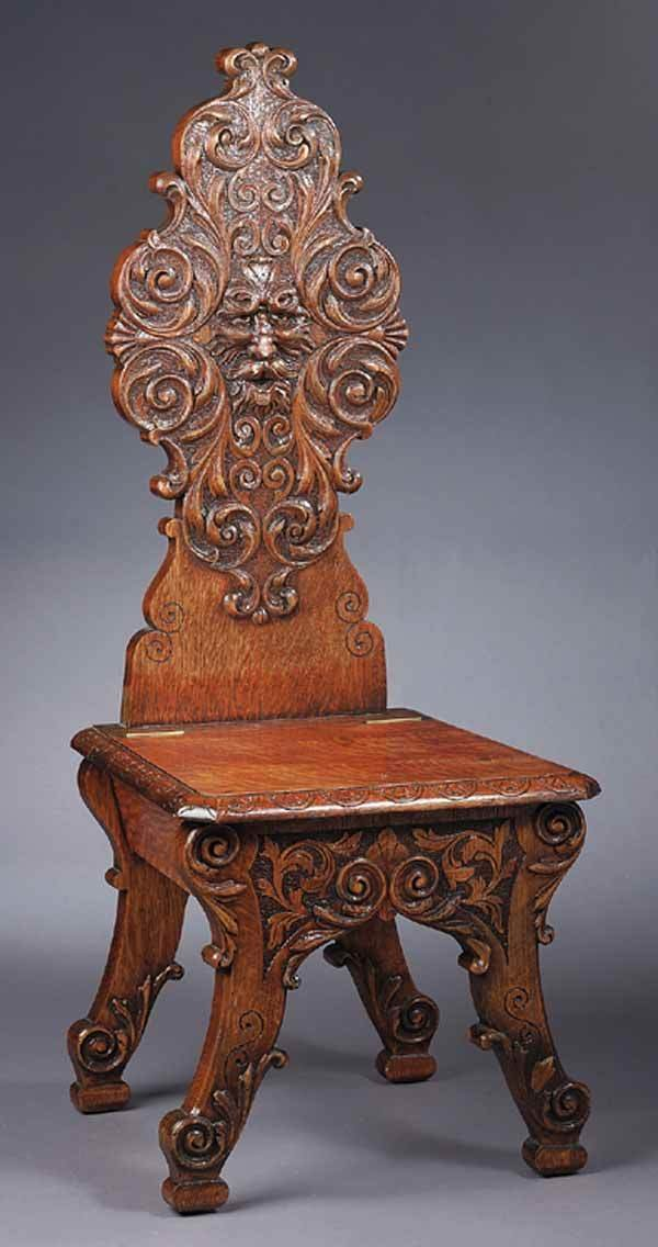 0931: American Renaissance Carved Hall Chair