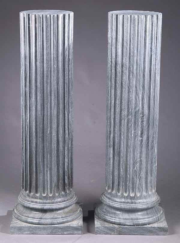 1183: Pair Classical-Style Gray Pedestals