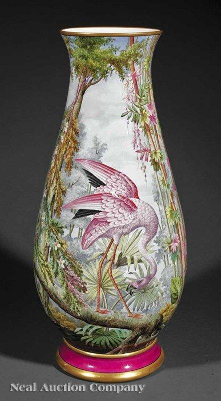 0005: Polychrome Porcelain Baluster Form Vase