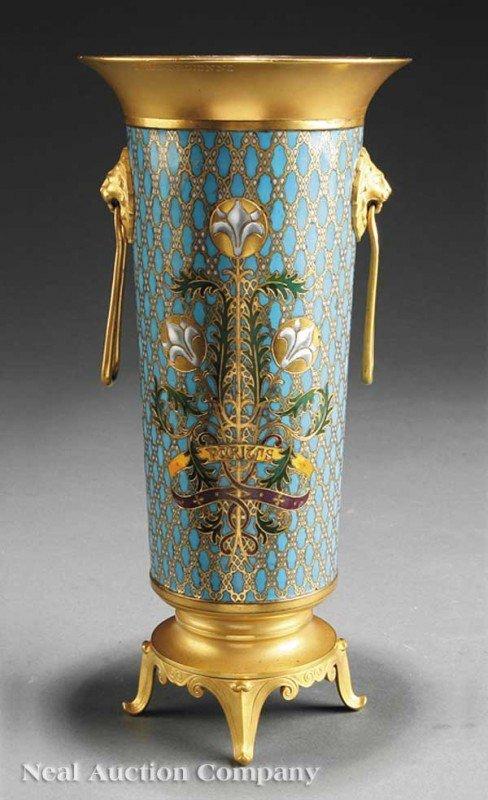 0008: French Champleve Enamel, Gilt Bronze Beaker Vase