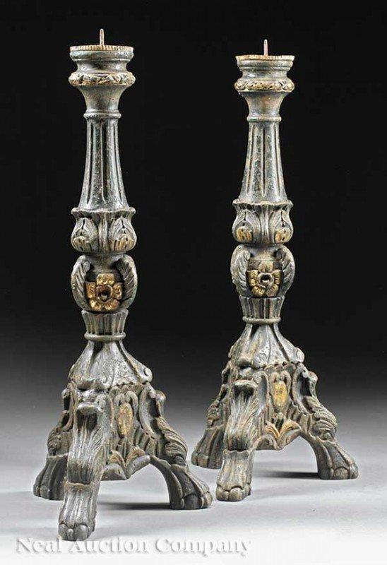 0013: Pair of Italian Carved and Verte Peinte Prickets