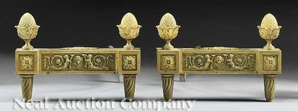 0014: Pair of French Bronze Chenets