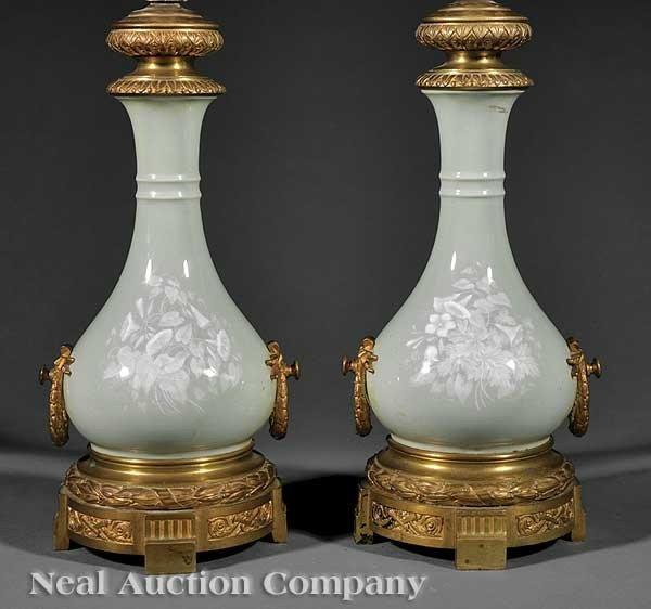 0017: Celadon Pâte-Sur-Pâte and Ormolu-Mounted Vases