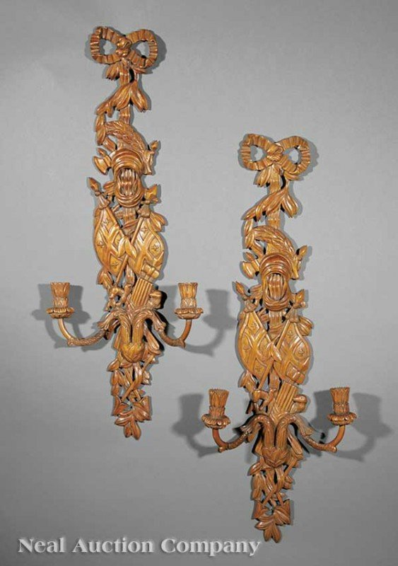 0018: Pair of Italian Carved Walnut Sconces
