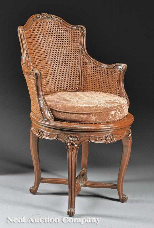 0020: Carved Walnut and Caned Chaise de Bureau