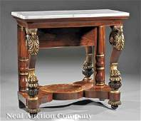 0077 Inlaid and GiltStenciled Mahogany Pier Table