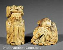 0631: Chinese Ming-Style Carved, Stained Ivory Figures