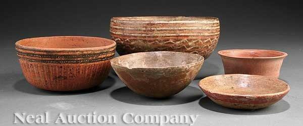 0689: Five Pre-Columbian Pottery Bowls