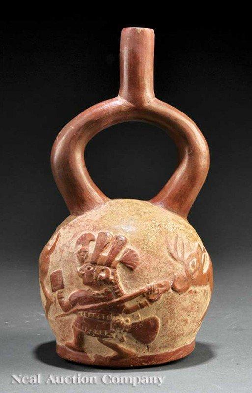 0692: Pre-Columbian Stirrup Handled Pottery Vessel