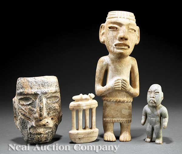 """0709: Four """"Pre-Columbian"""" Style Carved Stone Objects"""
