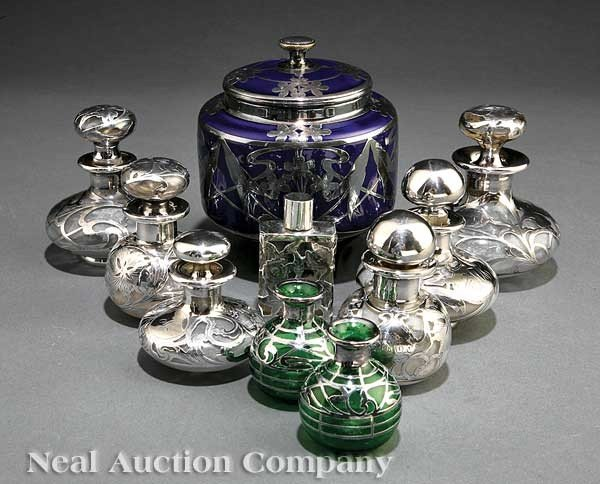 1272: Group of Art Nouveau Silver Overlay Objects
