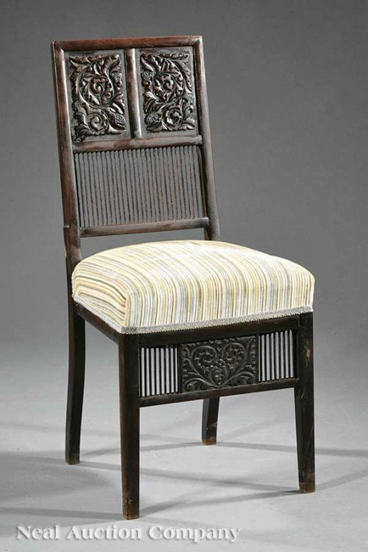 0002: American Aesthetic Carved Rosewood Side Chair