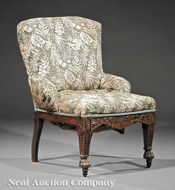 0003: Carved Walnut Slipper Chair, attrib. Herter Bros.