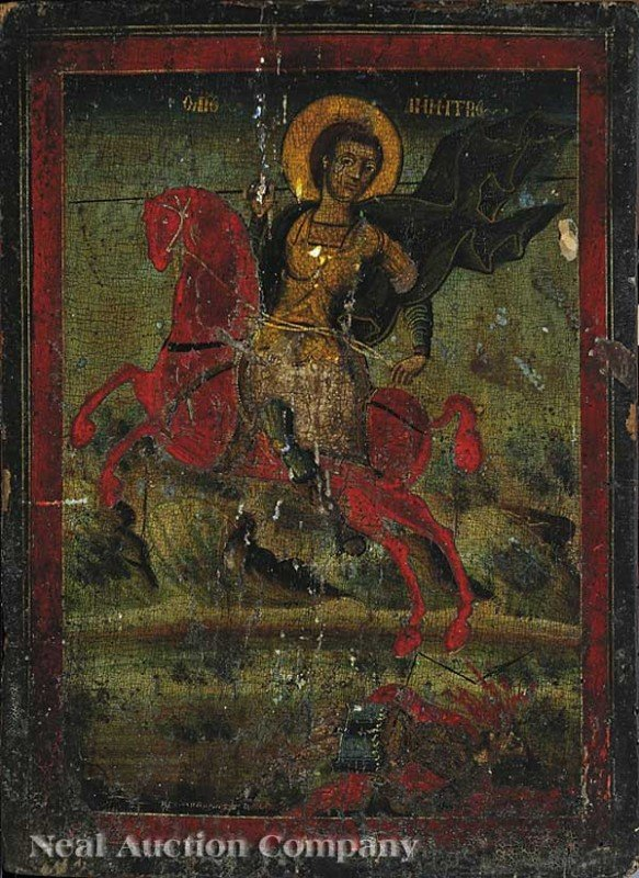 0013: Russian Icon of a Warrior Saint